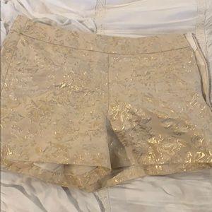 J crew brocade gold and cream shorts